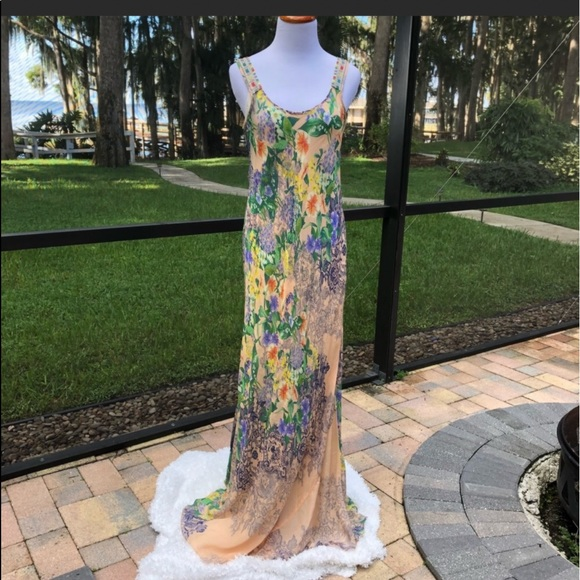 Johnny Was Embroidered Watercolor Floral Maxi